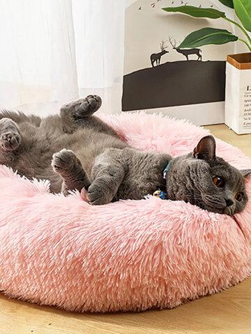 Comfy Calming Pet Bed Winter Warm Long Plush Soft Round Kennel Dog Cat Sleeping Cushion Mat