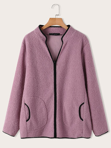 Casual Patchwork Fluffy Jacket