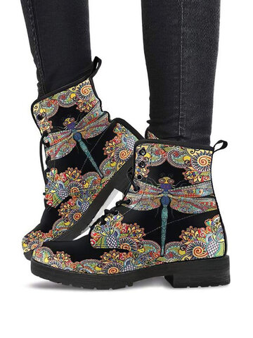 Dragonfly-print Paisley Pattern Boots