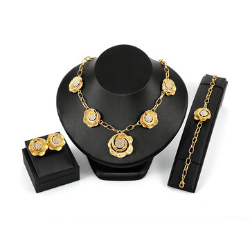 18K Gold Flower Jewelry Sets