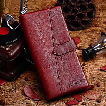 Women 19 Card Slot Genuine Leather Long Wallet