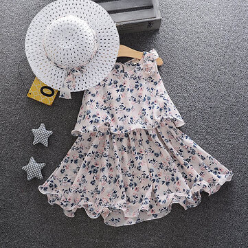 Floral Beach Style Girls Dress + Hat For 0-24M