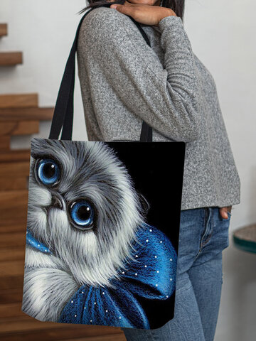 Cat Blue Bow Pattern Tote