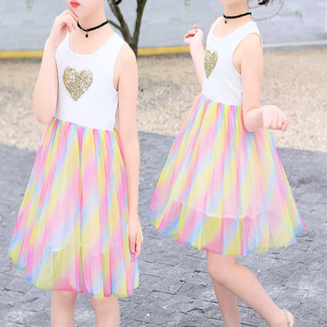 Girls Rainbow Mesh Tutu Dress For 3-13Y