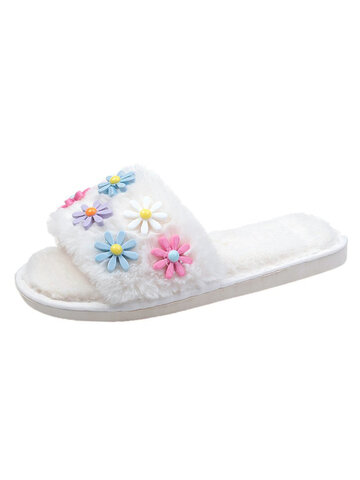 Cute Flowers Warm Plush Home Slippers