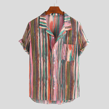 Mens Verão Hit Color Stripe Chest Pocket Camisas