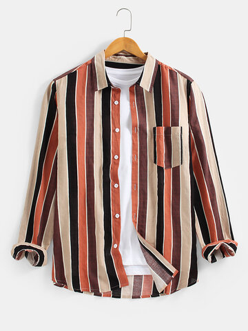 Cotton Colorful Striped Print Shirts