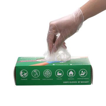 <US Instock> Slimerence Luvas transparentes descartáveis de PVC, luvas de qualidade alimentar Luvas de limpeza sem pó para trabalho doméstico Processamento de alimentos Catering 100 unidades L
