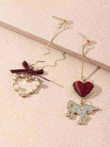 Lovely Peach Heart Unicorn Earrings
