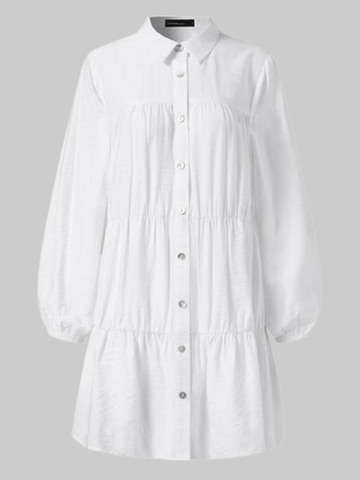 Solid Color Shirt Pleated Dress