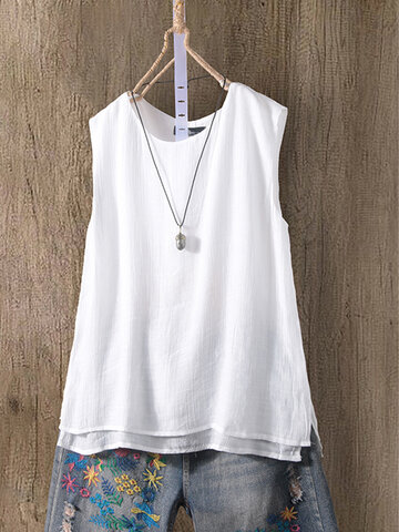 Sleeveless Double Layer Tank Top