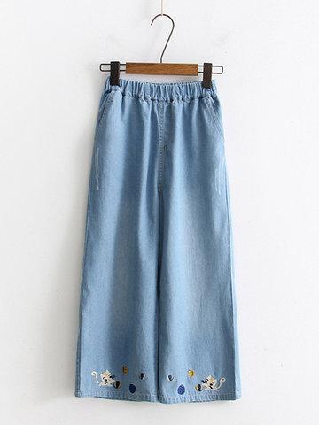 Denim Cat Embroidery Women Skirts