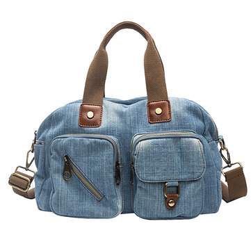 Women Denim Travel Multi-pocket Handbag
