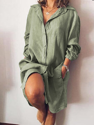 Casual Solid Color V-neck Dress
