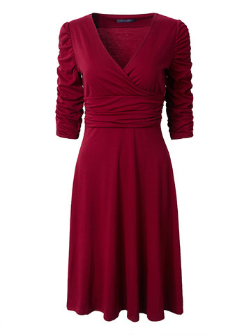 Women Tunic Half Sleeve Pleated Vintage V-Neck Dresses