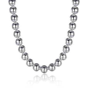 14MM Bead Colar Simple Silver Plated Necklace