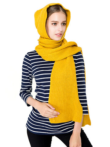 Women Winter Warm Knitted Hooded Scarf