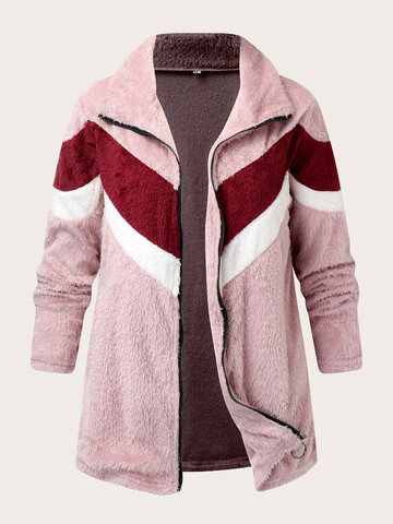Fluffy Contrast Color Patchwork Coat