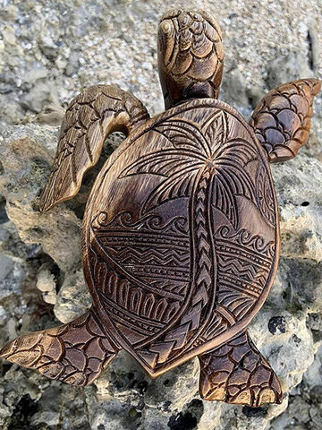 1 PC Practical Resin Hawaiian Turtle Woodcarving Realistic Woodcarving Display Mold Simulation Funny Statue Gardening