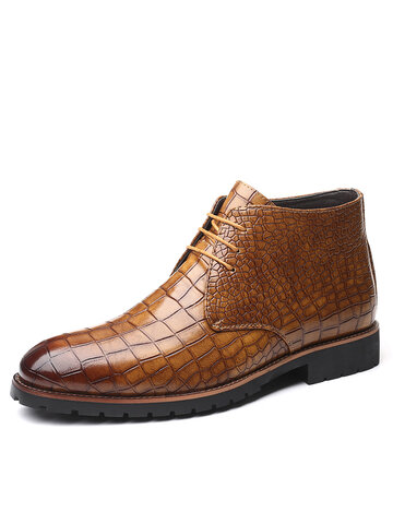 Men Vintage Crocodile Pattern Ankle Boots