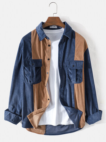 Corduroy Patchwork Double Pockets Shirts