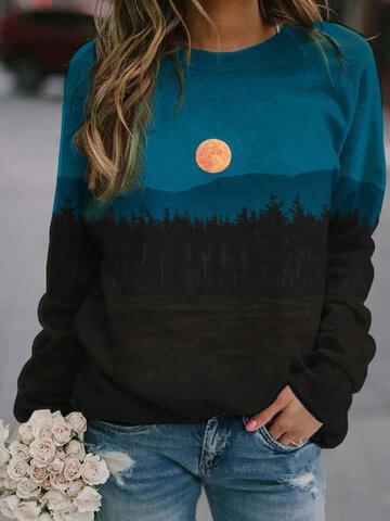 Landscape Print Vintage Sweatshirt