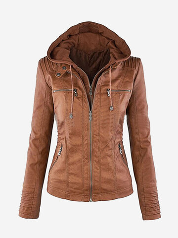 Casual Zipper Hooded PU Leather Jackets