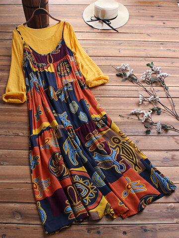 Two Pieces Ethnic Print Dress