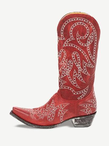 Large Size Rivet Pattern Cowboy Boots