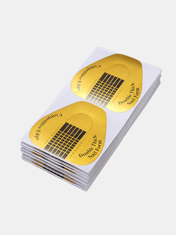 100Pcs Nail Form Sticker Large Gold Extension Guide Acrylic Tips UV Gel