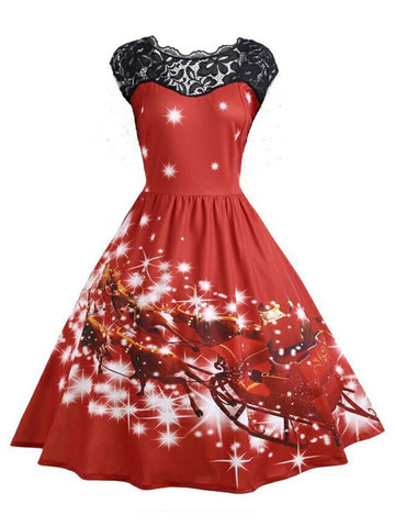 Christmas Print Lace Flared Dress