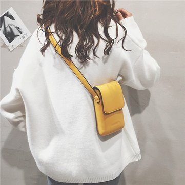 Women Leisure Solid Phone Purse Casual Crossbody Bag