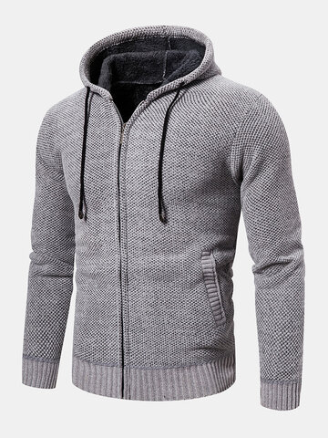 Solid Color Zipper Drawstring Hooded Cardigan Sweater