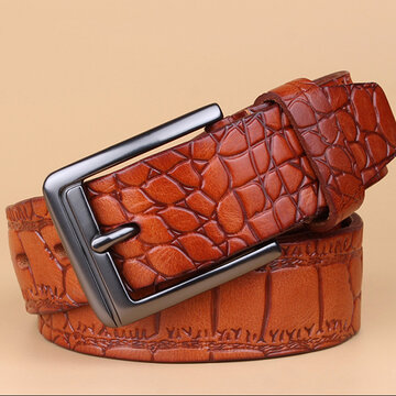 Men Business Crocodile Pattern First Layer Of Leather Belt Leisure Genuine Leather Pin Buckle Belt