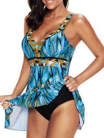 Plus Size Colorful V Neck Swimdress