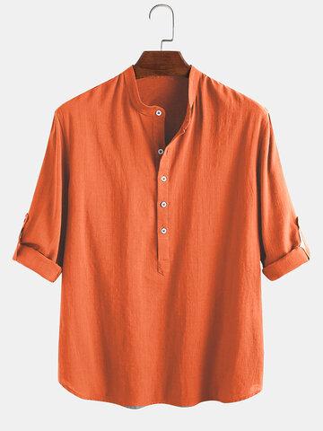 Herren 100% Baumwolle Ethnic Holiday Lose Stehkragen Henley Shirt