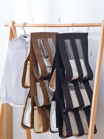 1Pc 5 Pocket Hanging Handbag Organizer For Wardrobe Closet Transparent Storage Bag Door Wall Clear Sundry Shoe Bag With Hanger Pouch