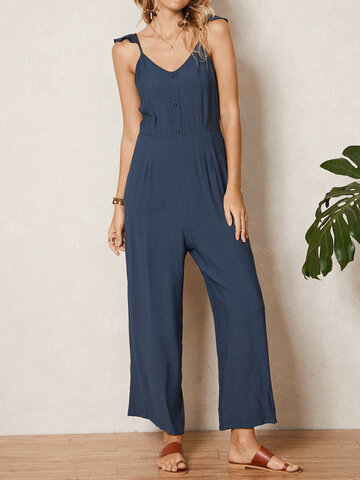 Solid Ruffle Strap V-neck Jumpsuit