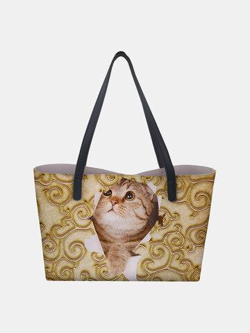 PU Leather Large Capacity Floral Cat Butterfly Printing Casual Cute Handbag Shoulder Bag Bucket Bag