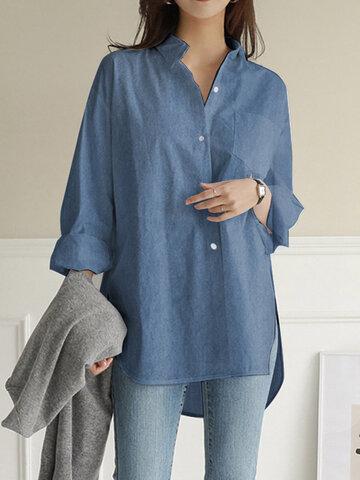 Demin Long Sleeve Split Hem Shirt