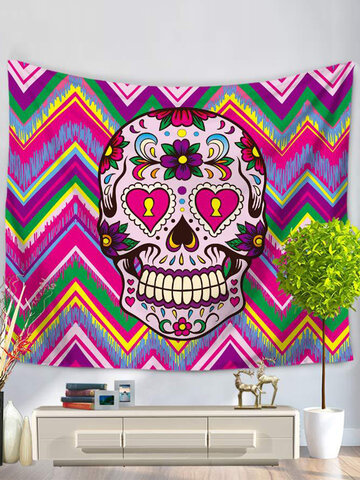 Colorful Flower Skull Printed Wall Hanging Tapestry