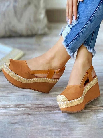 Slingback Buckle Espadrilles Wedges Sandals