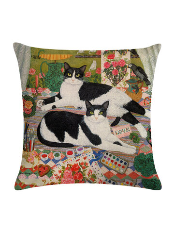 Classical Vintage Cat Printed Linen Cotton Cushion Cover