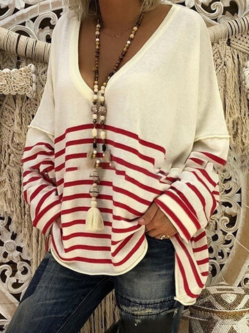 Loose Stripe Casual Blouse