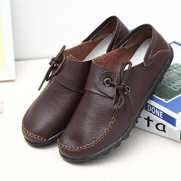 Leather Lace Up Flat Loafers