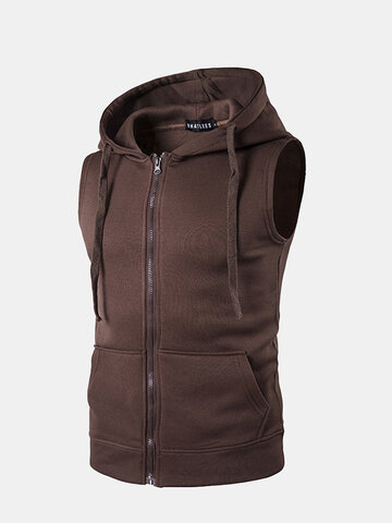 Muti-occasion Breathable Hooded Zipper Tank