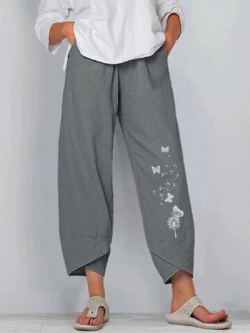 Butterfly Flower Print Pants With Pocket