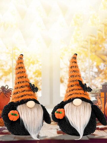 1PC Halloween Doll Decoration Ornament Festival Gift Faceless Dwarf Gnome With Bat Hat Hug Pumpkin