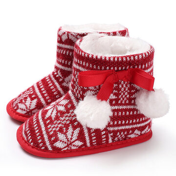 Baby Girls Christmas lace-up Pom-pom Decor Warm Snow Boots Toddler Shoes