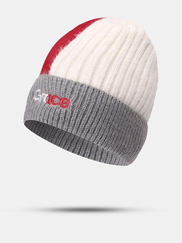 Unisex Patchwork Embroidered Beanie Hat